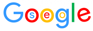 Graphic of Google Logo with the word SEO within the loops of the letters - SEO is part of Digital Strategy