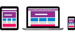 Graphic of website displayed on several device types - Digital Strategy must consider audiences and their devices
